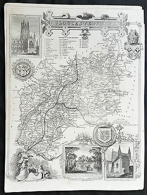 1836 Thomas Moule Original Antique Map of The County of Gloucestershire, England