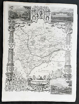 1836 Thomas Moule Original Antique Map of The County of Rutlandshire, England