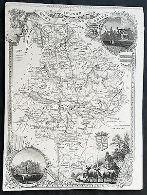 1836 Thomas Moule Original Antique Map of The County of Huntingdonshire, England