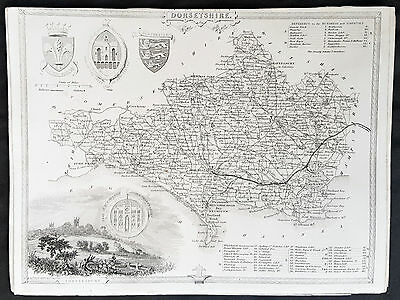 1836 Thomas Moule Original Antique Map of The County of Dorset Shire, England