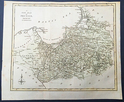 1799 A. Arrowsmith Old, Antique Map of Prussia - Poland & Germany