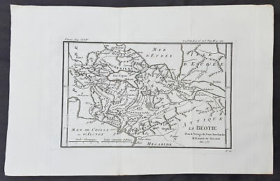 1787 Du Bocage & Barthelemy Antique Map of Boeotia, Greece - City of Thebes