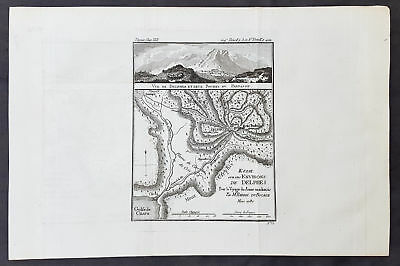 1787 Du Bocage & Barthelemy Antique Map & View of Delphi & Mt Parnassus, Greece