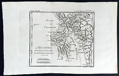 1786 Du Bocage Antique Map of Messenian Gulf & Peninsula, Ionian Sea, Greece
