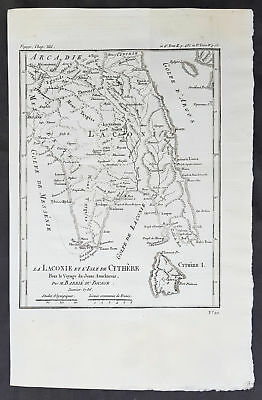1785 Du Bocage & Barthelemy Antique Map of Laconia Peloponnese, Greece