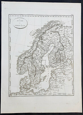 1804 Jean N Buache Original Antique Map of Scandinavia, Sweden Norway & Baltics