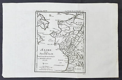1786 Du Bocage & Barthelemy Antique Map of Elis Peloponnesos, Greece - Olympia