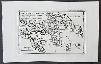 1785 Du Bocage & Barthelemy Antique Map of Attica Megaris Thebes Euboea, Greece