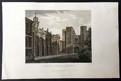 1808 Herbert Large Antique Print of Lambeth Palace and the Hall Gateway