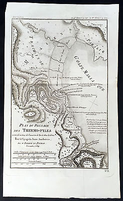 1784 Du Bocage Large Antique Map of Thermopylae Pass, Greece