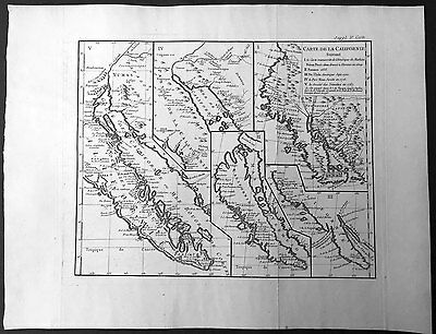 1770 Robert De Vaugondy Large Original Antique Maps of California, America