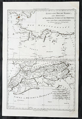 1780 Rigobert Bonne Original Antique Map of Morocco to Libya, Nth Africa Barbary