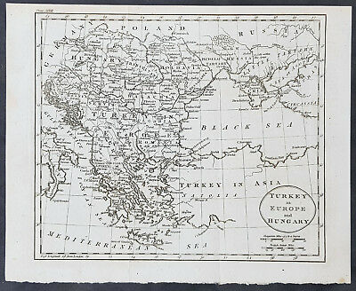 1770 Thomas Kitchin Original Antique Map Turkey in Europe, Hungary to Black Sea