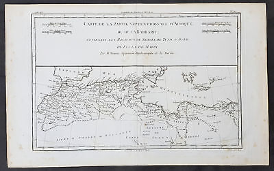 1780 Rigobert Bonne Original Antique Map of North Africa & Mediterranean Barbary
