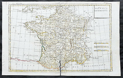 1780 Rigobert Bonne Original Antique Pre. Revolutionary Map of France