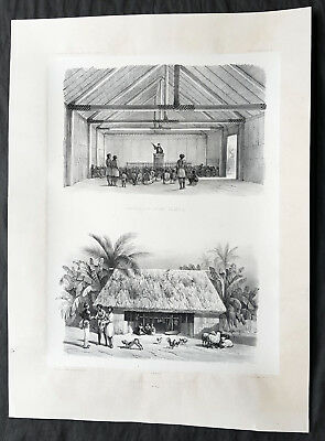 1842 D Urville & Le Breton Antique Print Church & Chief Tupou I Hut Vavau, Tonga