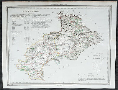 1860 A H Dufour Antique Map of the French Department of the Hautes-Alpes