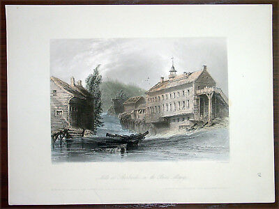 1842 Bartlett Antique Print of Hyatts Mills, Sherbrooke, Quebec Canada (33867)