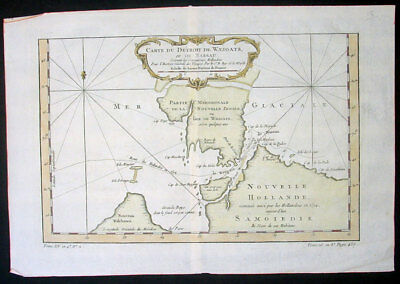 1758 Bellin Original Antique Map of Russia Novaya Zemlya Nenets, Willem Barentsz