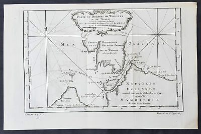 1758 Bellin Original Antique Map of Novaya Zemlya Nenets, Russia Willem Barentsz