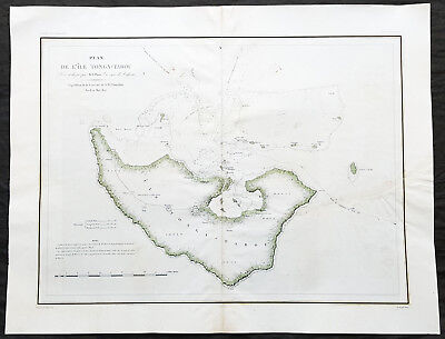 1827 Dumont D Urville Large Antique Map The Island of Tongatapu Tonga, Astrolabe