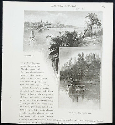 1882 Picturesque Canada Antique Print Views of Brockville, Ontario, Canada.