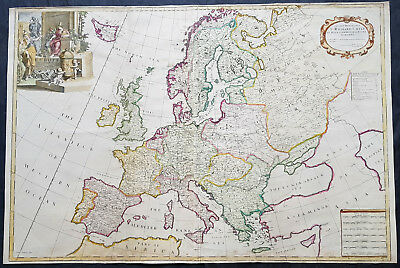 1712 John Senex Large Antique Map of Europe - Iceland, Poland, Russia, Italy