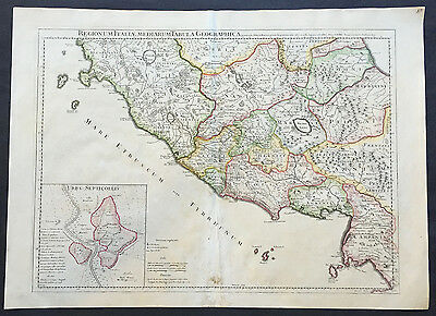 1711 Claude Delisle Large Original Antique Map of Rome and Regions, Italy