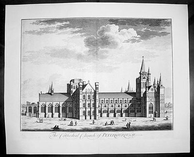 1724 Kip Large Antique Original Birds Eye View of Peterborough Cathedral England
