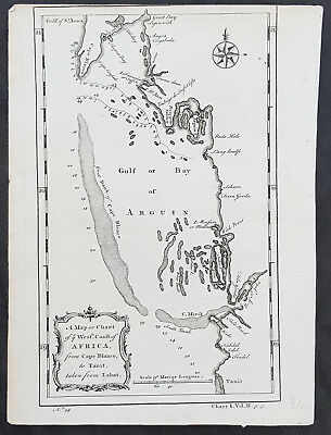 1745 Bradock Mean or John Green Antique Map of Bay of Arguin, Mauritania, Africa