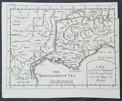 1745 James Basire Original Antique Map of Hannibals Route in France & Italy Alps