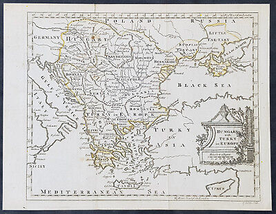 1754 Thomas Jefferys Original Antique Map Turkey in Europe, Hungary to Black Sea