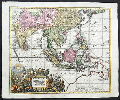 1730 Seutter Large Antique Map of East Asia SE Asia, China East Indies Australia