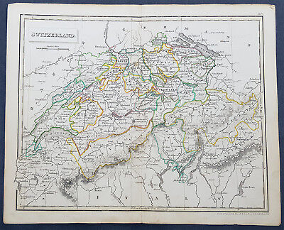 1825 John Russell Antique Map of Switzerland