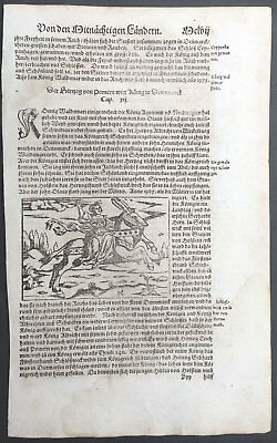1574 S. Munster Antique Print Engravings to Text - Queen of Denmark on Horseback