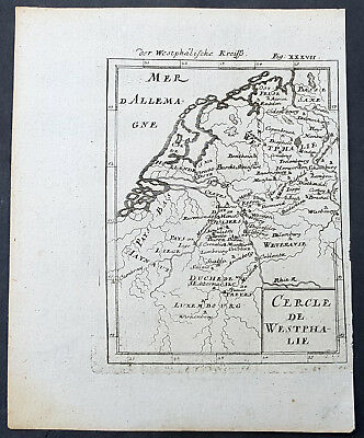 1688 A Mallet Original Antique Map of Western Europe - Luxembourg to Westphalia