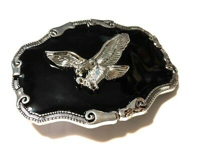 ✖ WESTERN STEER EAGLE Cowboy Rodeo Style ✖ Belt Buckle Buck ✖ Chrome and black