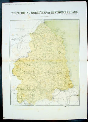 1878 Pictorial World Map English County Northumberland