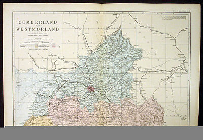 1890 Bacon Antique Map Cumberland, Westmoreland England