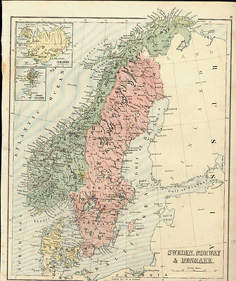 1880 Gall & Inglis Antique Map of Sweden, Norway,Denmark, Russia, Iceland