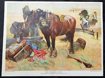 1910 Boys Own Paper Antique Print of Ship Wreckers Mare by M Crabtree