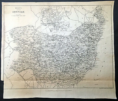 1875 Kelly & co Large Old, Antique Map of the English County of Suffolk