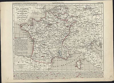 1840 Houze Antique Map of France under Louis XV