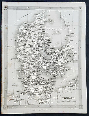 1845 Alexander Findlay Original Antique Map of Denmark