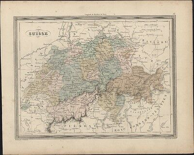 1847 Vuillemin Antique Map of Switzerland