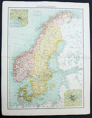 1890 Bartholomew Large Original Antique Map of Sweden and Norway