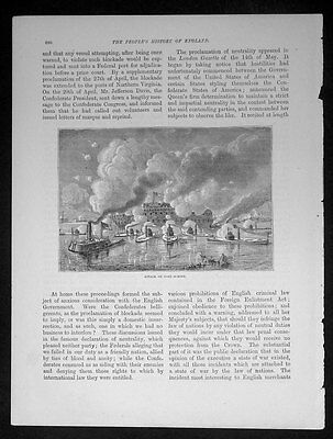 1863 History of England Antique Print Battle of Fort Sumter American Civil War