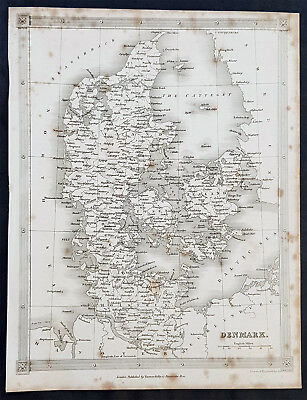 1845 Alexander Findlay Original Antique Map of Denmark - Zealand & Holstein