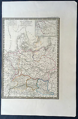 1839 Brue Large Old, Antique Map of Central Europe - Italy to Denmark
