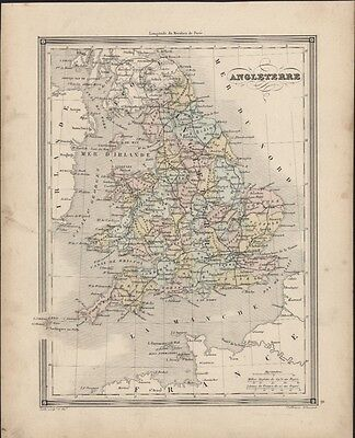 1847 Vuillemin Antique Map of England and Railway Lines